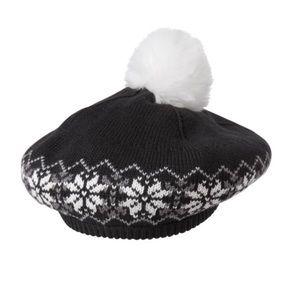 cc9e378df3cb Janie   jack beret hat black white girls 2t - 3